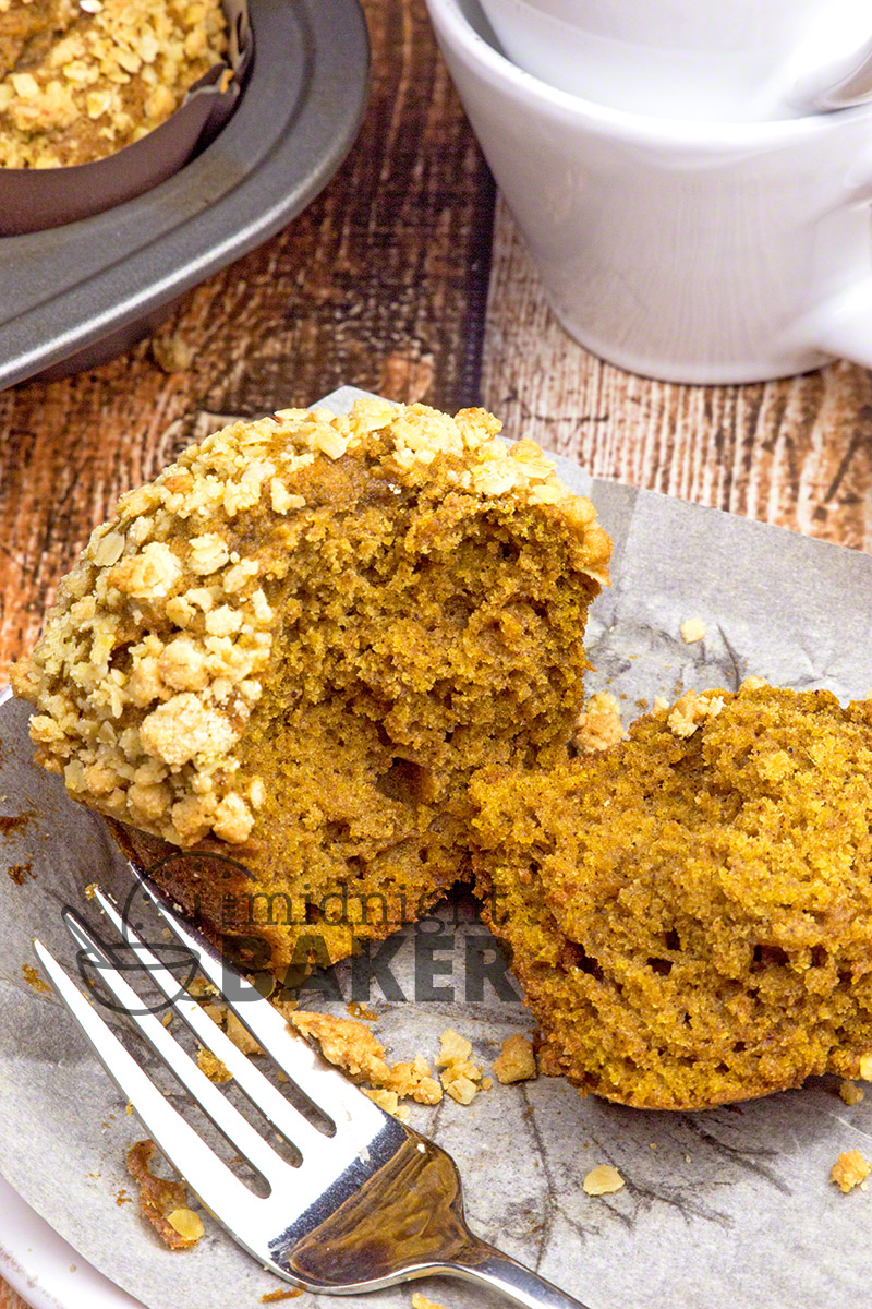 Fall or any time is the perfect time for these tender pumpkin oat muffins. Crowned with a crunch oat topping that's hard to beat.