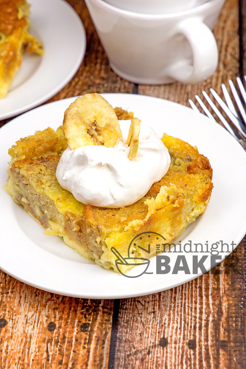 If you have any banana bread or cake left over, this is a wonderful bread pudding dessert that will use up the leftovers