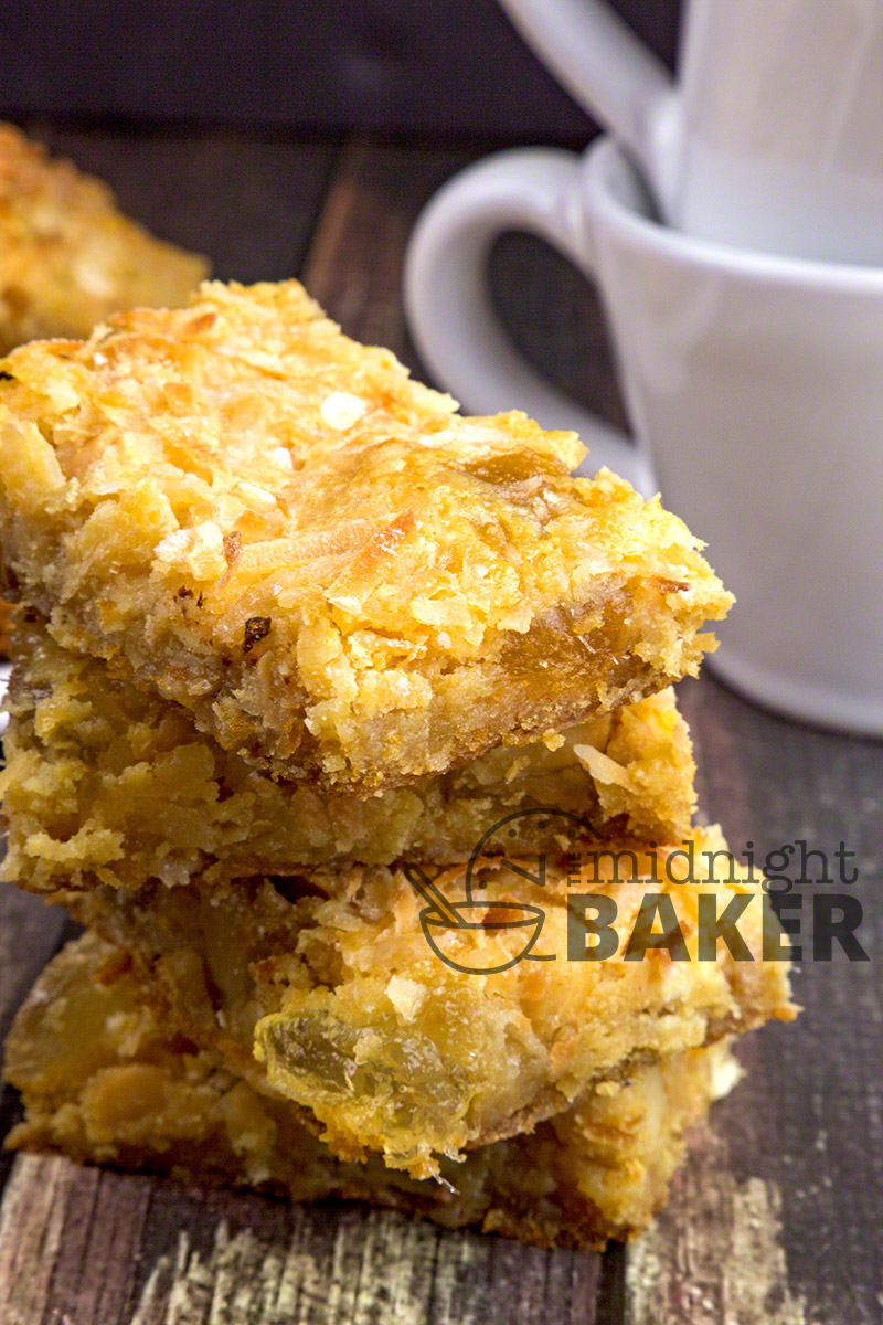 Tropical Pineapple Bars are filled with candied pineapple, coconut and macadamia nuts, these bars scream tropics!