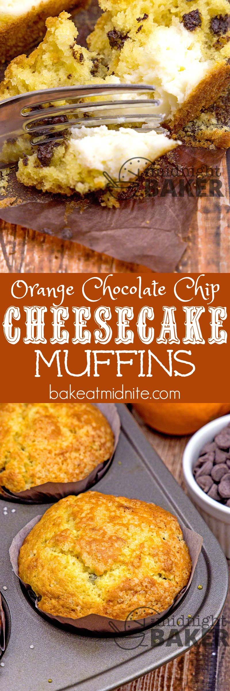 Just a hint of orange with dark chocolate chips make these muffins special and really over-the-top with a creamy cheesecake filling!