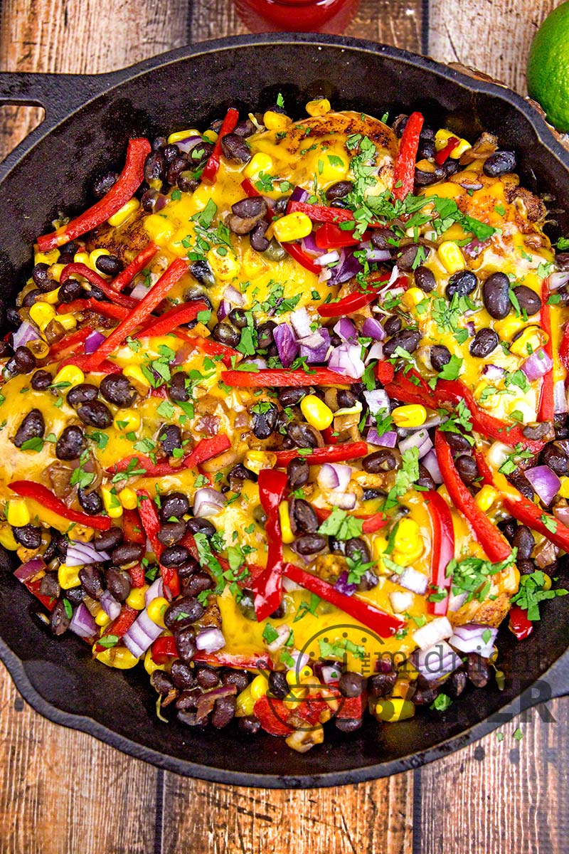 Santa Fe chicken is loaded with a great southwestern veggie combo and gobs of cheddar cheese