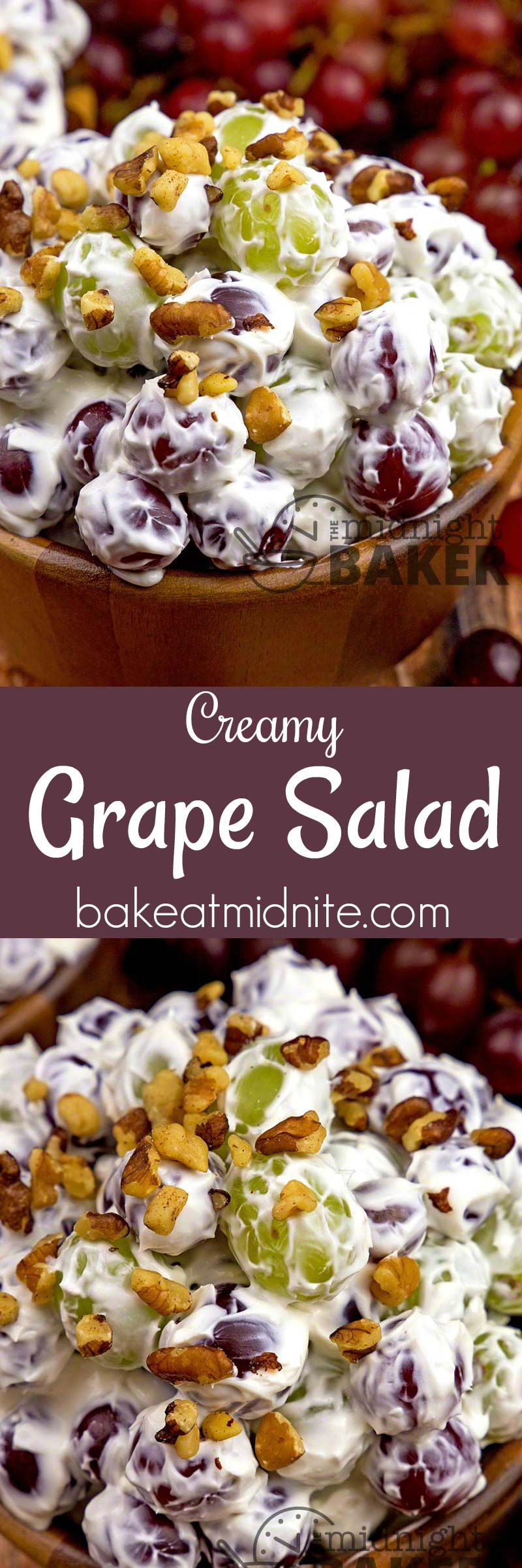 Here's a salad everyone can get into! Sweet juicy grapes in a creamy cheesecake-like dressing. Perfect for snacking.
