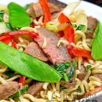 Easy peasy meal! Leftover steak, ramen noodles and veggies. What could be easier?