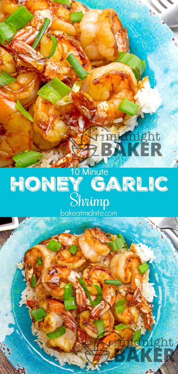 This delicious honey garlic shrimp is done in 10 minutes flat!