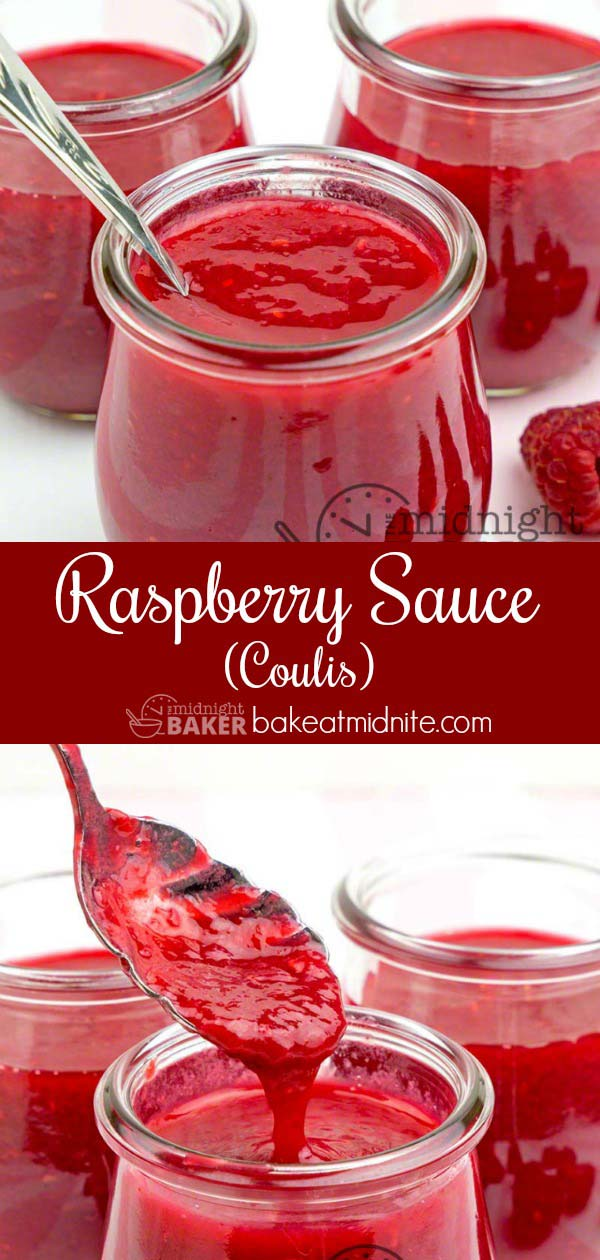 """Delicious and easy fresh raspberry sauce has an intense flavor. This is sometimes called """"coulis."""""""