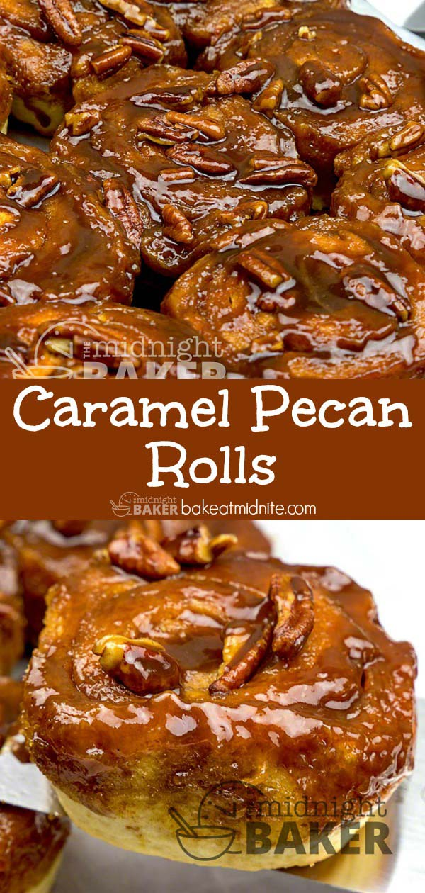These easy yeast rolls are bursting with yummy caramel and pecan goodness.