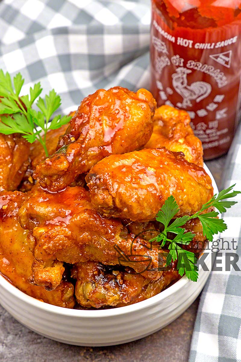 Yummy and tangy sriracha chicken wings easily done in the air fryer or oven.