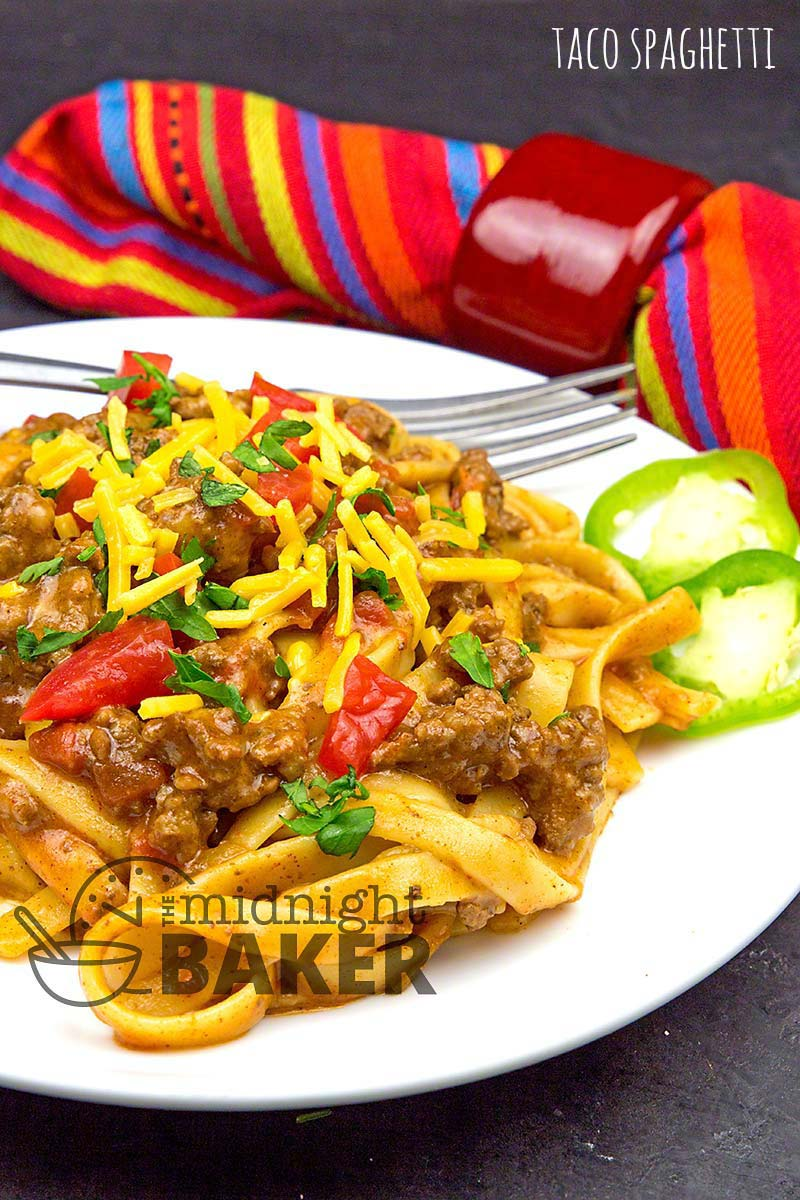Think taco out of the shell. Taco spaghetti cooks all in one pot and is done in less than 30 minutes.
