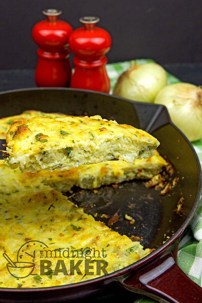 Similar to a quiche, onion pie is a tasty side dish