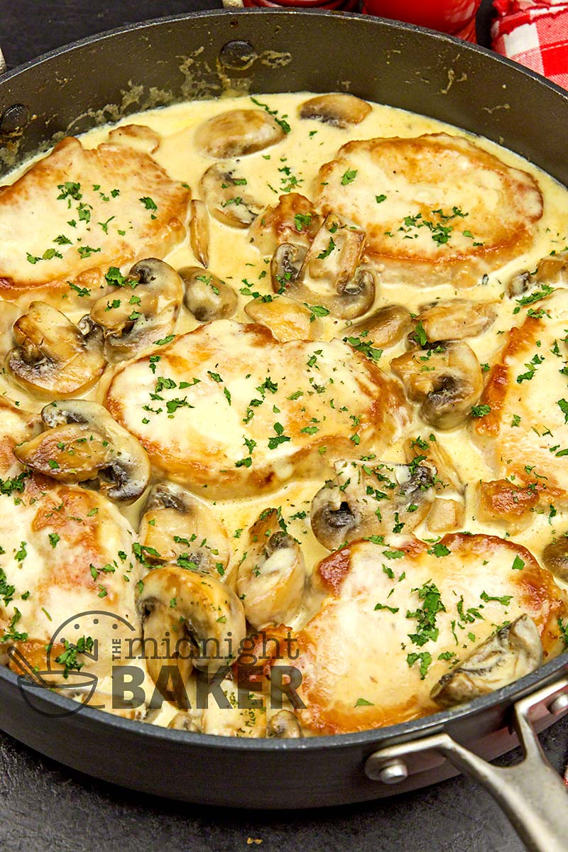 Pork chops with a creamy mushroom gravy cooks all in the same pan!