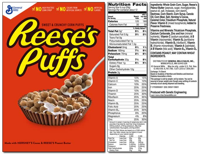 Reeses Puffs Cereal Label