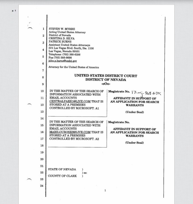 stephen paddock warrant