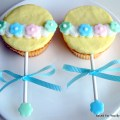 These are baby rattle cupcakes for a baby shower my friend