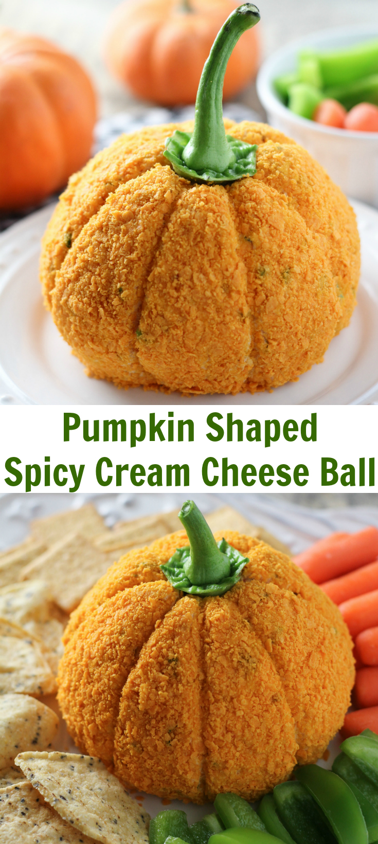 Pumpkin Shaped Cheese Ball Baked In AZ