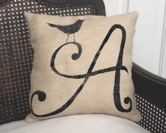 Bird Letter Custom Monogram Pillow  - Burlap Feed Sack Pillow