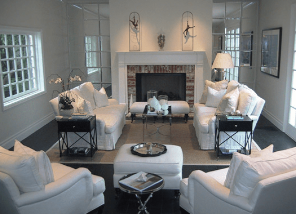 Suzie: Jackson Page Interiors  Chic white living room with brick fireplace, white slipcover ...
