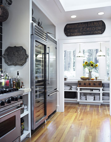 stainless steal large fridge in a kitchen owned by tyler florence