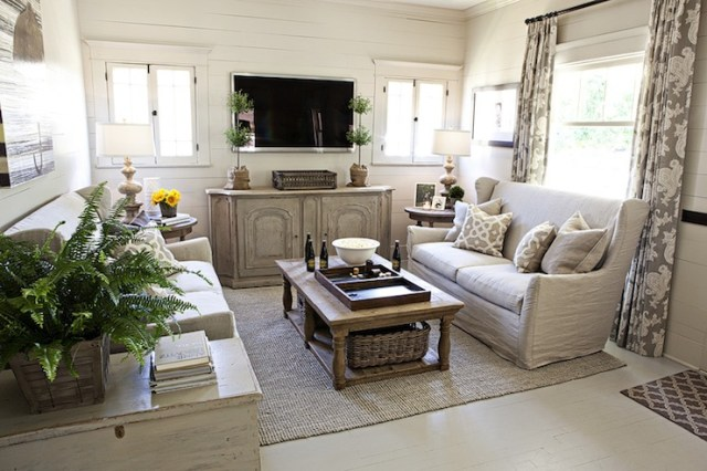 Suzie: FOUND - Kristin Alber - Elegant cottage living room with gray walls paint color, vintage ...