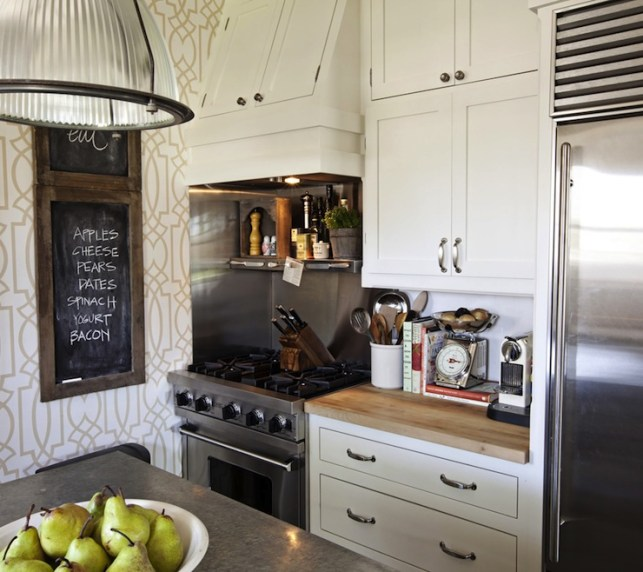 Suzie: FOUND - Kristin Alber - Fantastic kitchen with York Wallcoverings Grata Wallpaper, ...