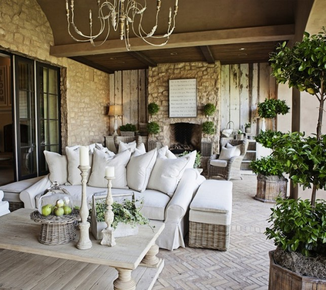 Suzie: FOUND - Amazing patio with Aidan Gray Graceful Elegance Candle Chandelier, outdoor stone ...