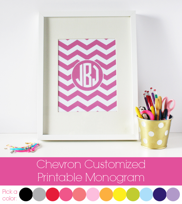 chevron customized printable monogram Chevron Customized Printable Monogram