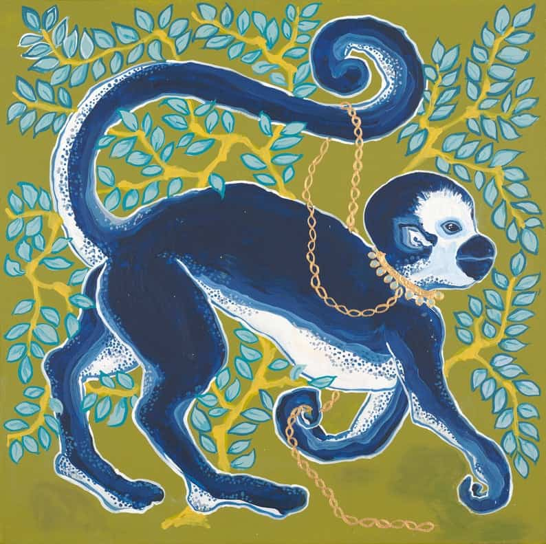 ART PRINT Blue Monkey on Green Right Facing by Paige Gemmel