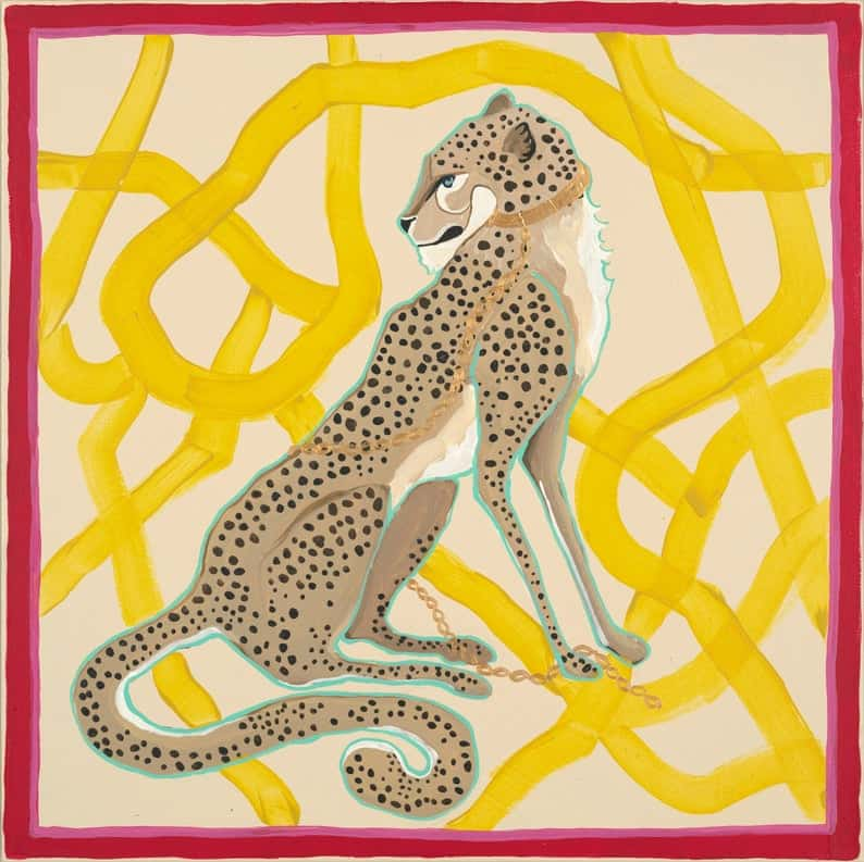 ART PRINT Cheetah gazing yellow brushstrokes