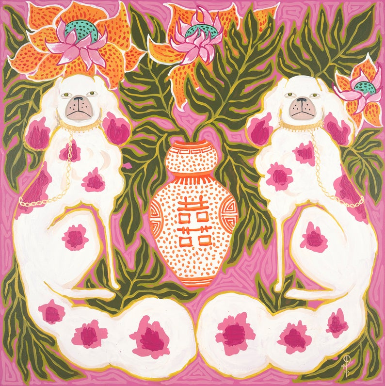 ART PRINT Staffordshire Dogs in Hot Pink and Orange by Paige Gemmel