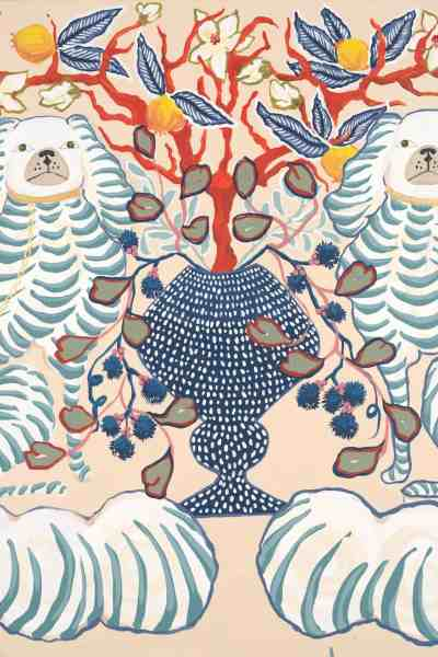 ART PRINT. Scalloped Staffordshire Dogs with Navy vase by Paige Gemmel