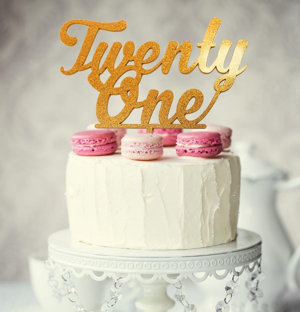 Number Twenty One Cake Topper Gold Bake Group