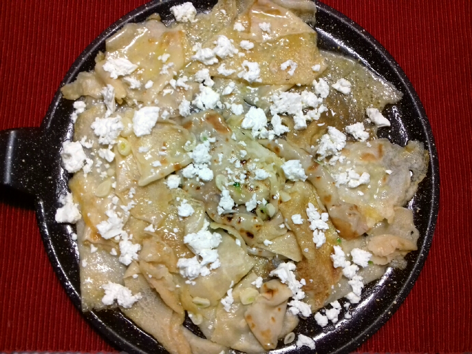 Eggless pancakes with feta cheese