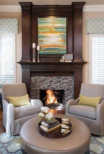 dallas interior design living room wine fireplace round seating