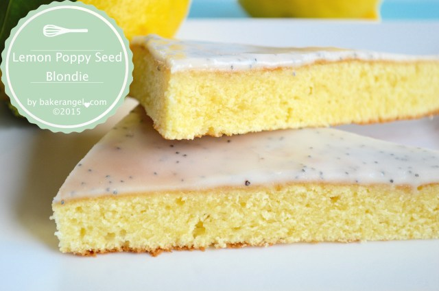 Lemon Poppy Seed Blondie by bakerangel.com