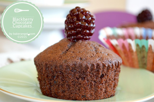 Blackberry Chocolate Cupcakes by bakerangel .com