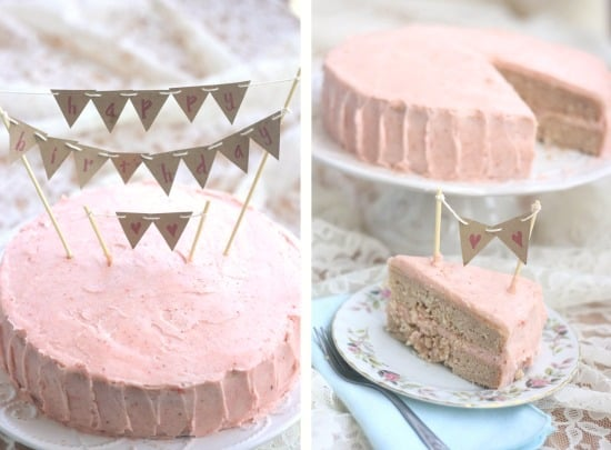 Strawberry birthday cake with strawberry vanilla bean icing uses fresh strawberries and is so incredibly light and tender. It can easily be made vegan!