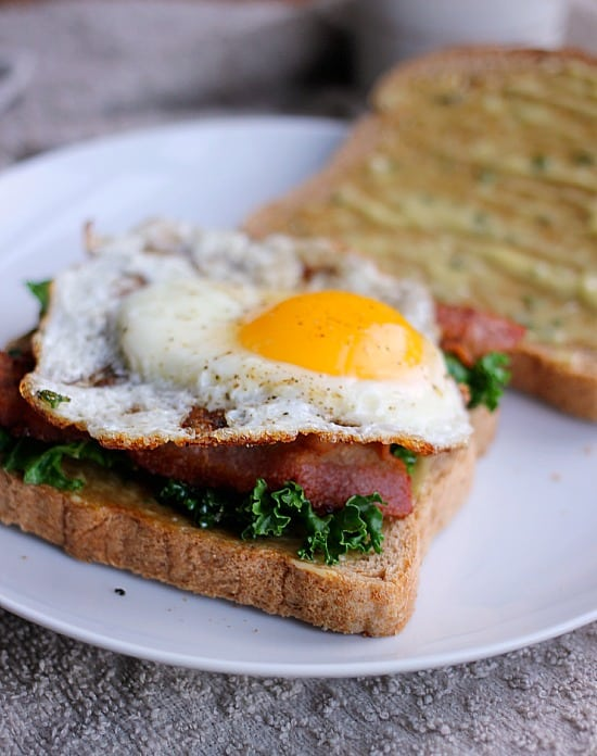 Kale Bacon and Egg Sandwich w/ Garlic Thyme Aioli