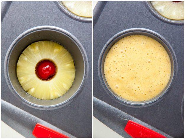 Estas mini piña al revés de los pasteles son simple, dulce y seguro de poner una sonrisa en la cara de todos!