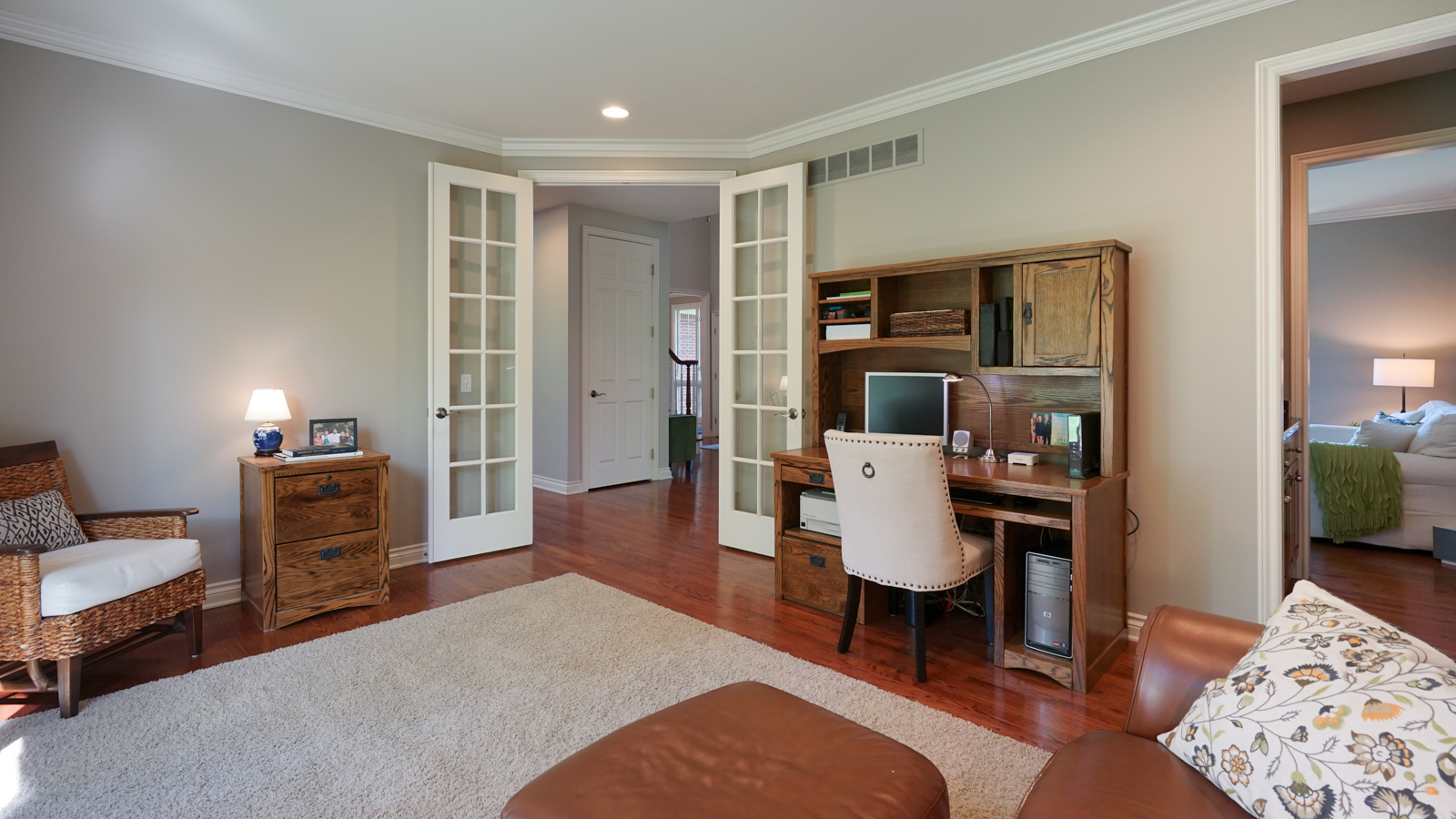 Library with French Doors