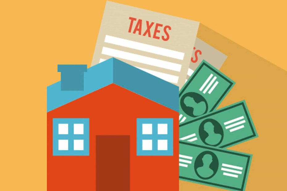 Clipart of house and tax forms and money