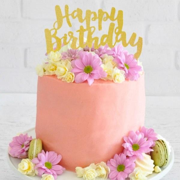 Bakeria Happy Birthday Glitter Gold Torten Topper