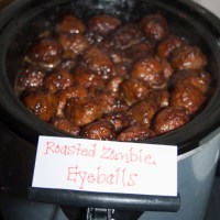 Roasted Zombie Eyeballs (Sweet and Spicy Meatballs)