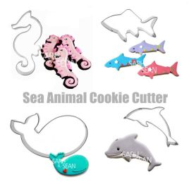 4pcs/set Metal Stainless Steel  Sea Animals – seahorse, whale, dolphin, shark