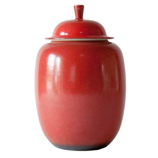 Ceramic Red Ginger Jar Baker Rhodes