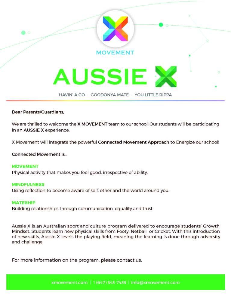 Aussie X Parent Briefing Sheet