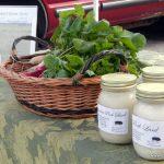 fresh herbs and Mangalitsa lard