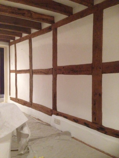 Sympathetic repairs to this listed 16th century cottage by Baker Southern Ltd specialist contractors - wattle and daub wall complete