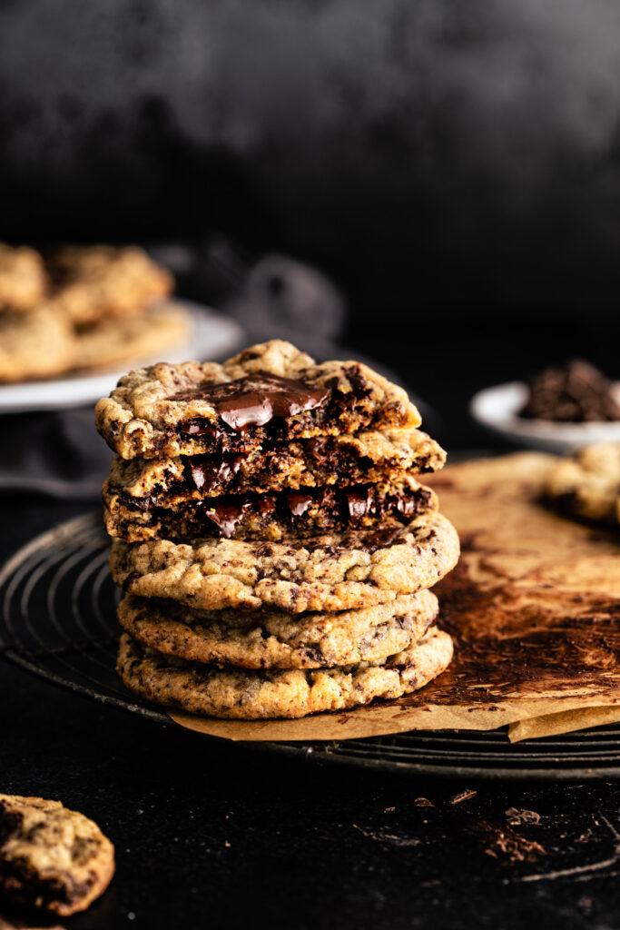 stack of broken chocolate chunk cookies