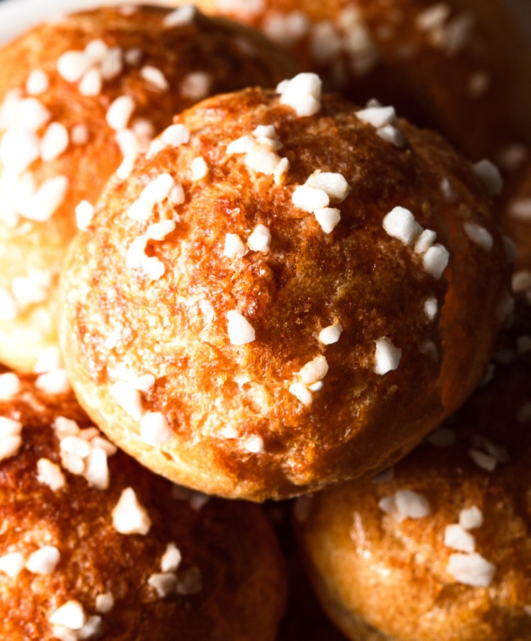 close up of choux pastry with belgian pearl sugar