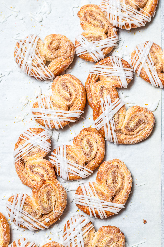 scattered palmiers with icing drizzle