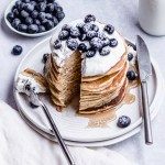 stack of pancakes with bite cute out